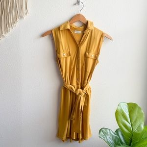 New York and Company Button Down Romper Yellow SzS